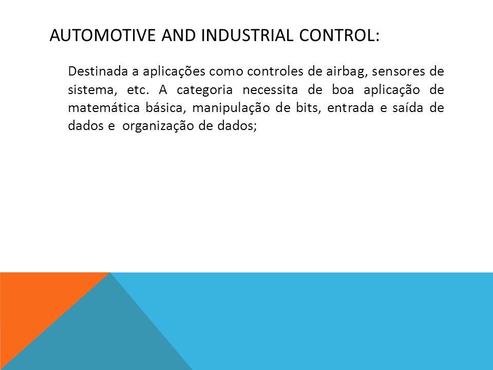 AUTOMOTIVE AND INDUSTRIAL CONTROL: Destinada a aplicações como controles de airbag, sensores de sistema, etc.