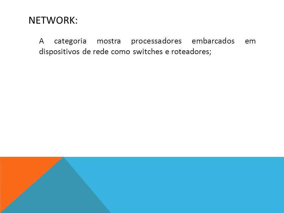 NETWORK: A categoria mostra processadores embarcados em dispositivos de rede como switches e roteadores;