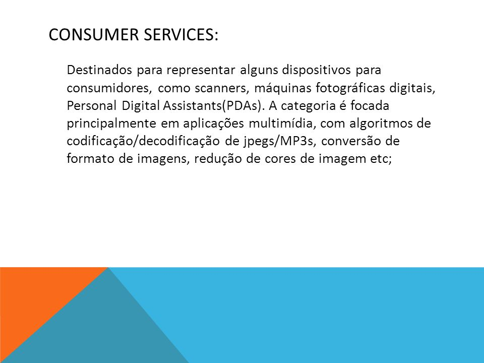 CONSUMER SERVICES: Destinados para representar alguns dispositivos para consumidores, como scanners, máquinas fotográficas digitais, Personal Digital Assistants(PDAs).