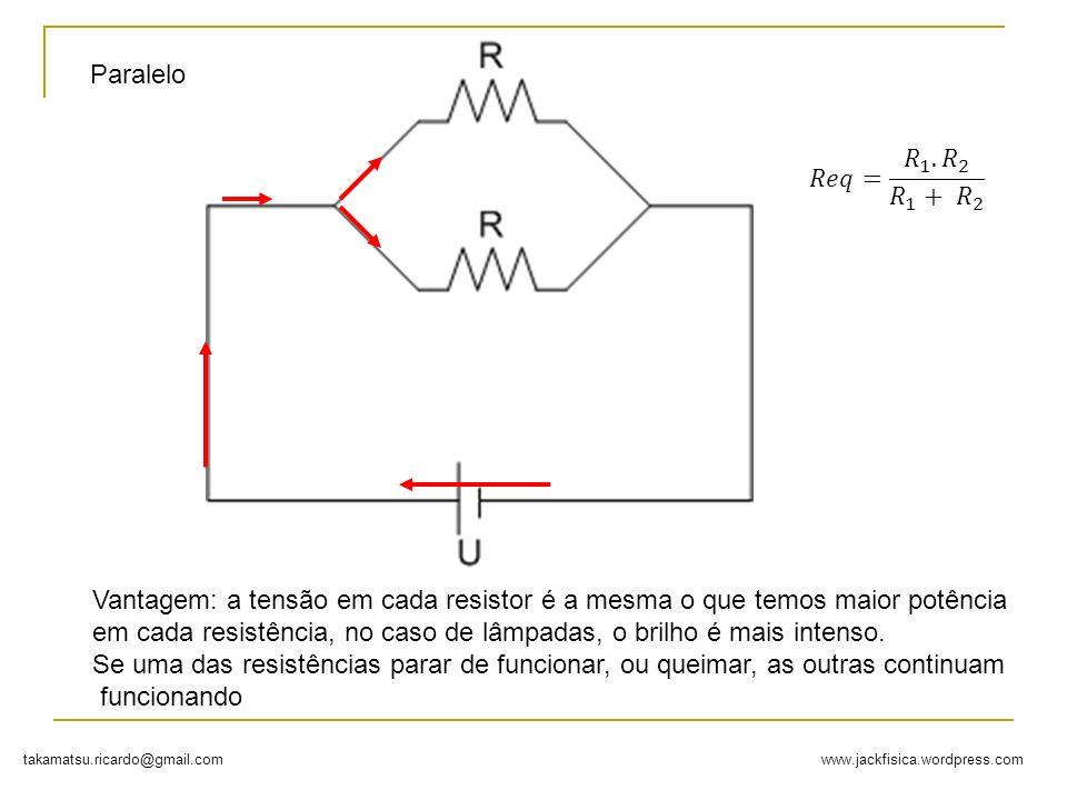 www.jackfisica.wordpress.comtakamatsu.ricardo@gmail.com Paralelo Vantagem: a tensão em cada resistor é a mesma o que temos maior potência em cada resi