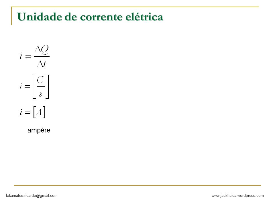 www.jackfisica.wordpress.comtakamatsu.ricardo@gmail.com Tipos de correntes Corrente contínua i Corrente Alternada + -