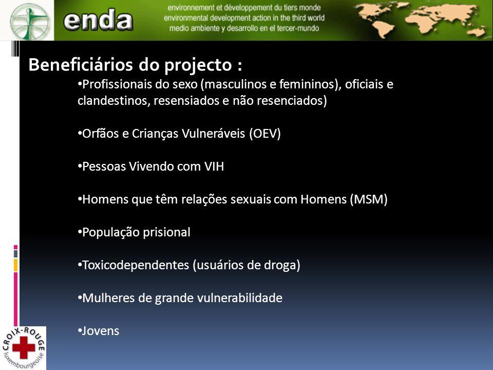 Beneficiários do projecto : Profissionais do sexo (masculinos e femininos), oficiais e clandestinos, resensiados e não resenciados) Orfãos e Crianças