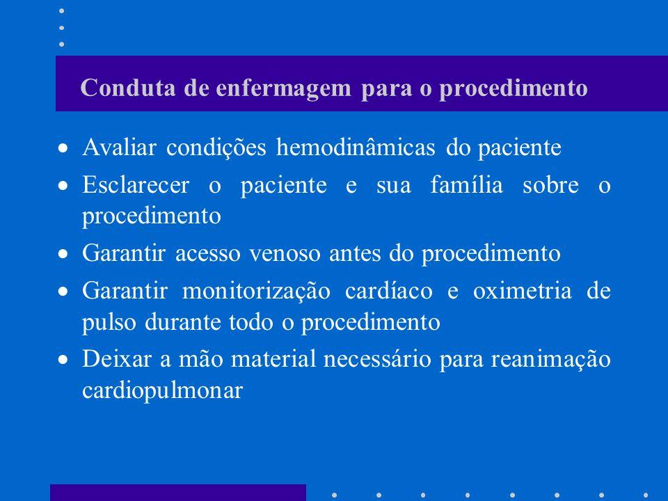 Conduta de enfermagem para o procedimento Avaliar condições hemodinâmicas do paciente Esclarecer o paciente e sua família sobre o procedimento Garanti