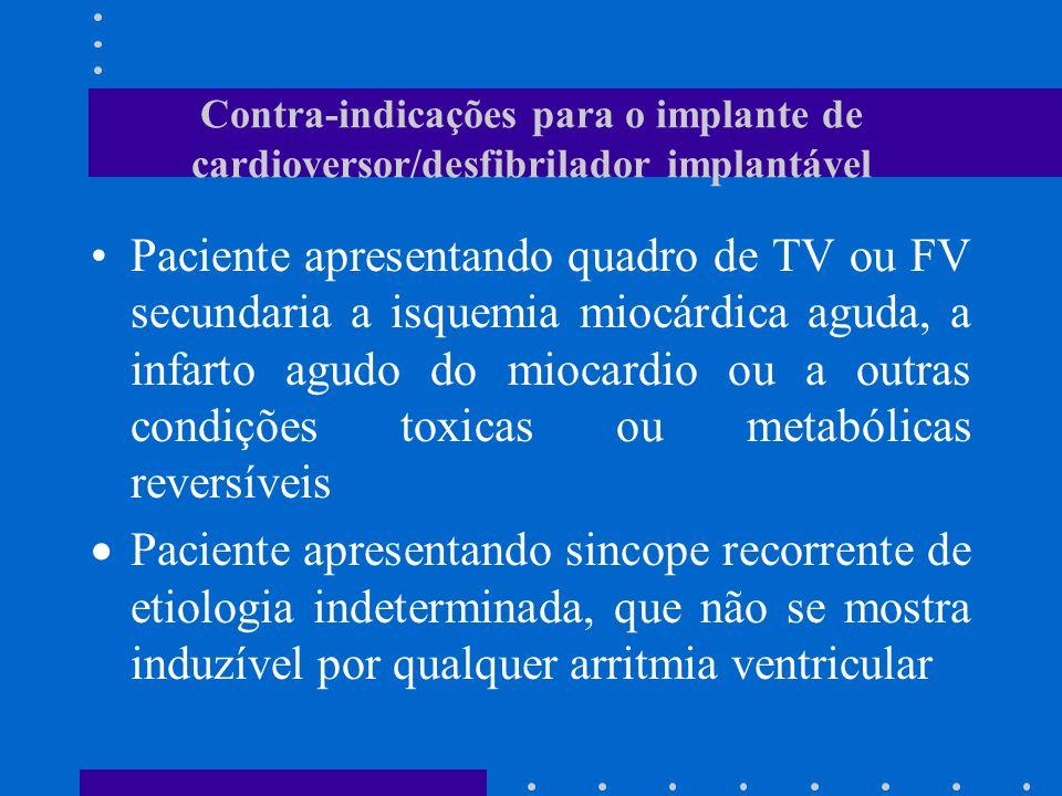 Contra-indicações para o implante de cardioversor/desfibrilador implantável Paciente apresentando quadro de TV ou FV secundaria a isquemia miocárdica