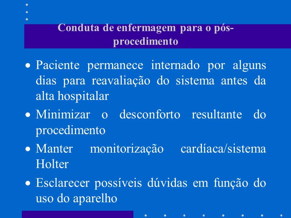 Conduta de enfermagem para o pós- procedimento Paciente permanece internado por alguns dias para reavaliação do sistema antes da alta hospitalar Minim