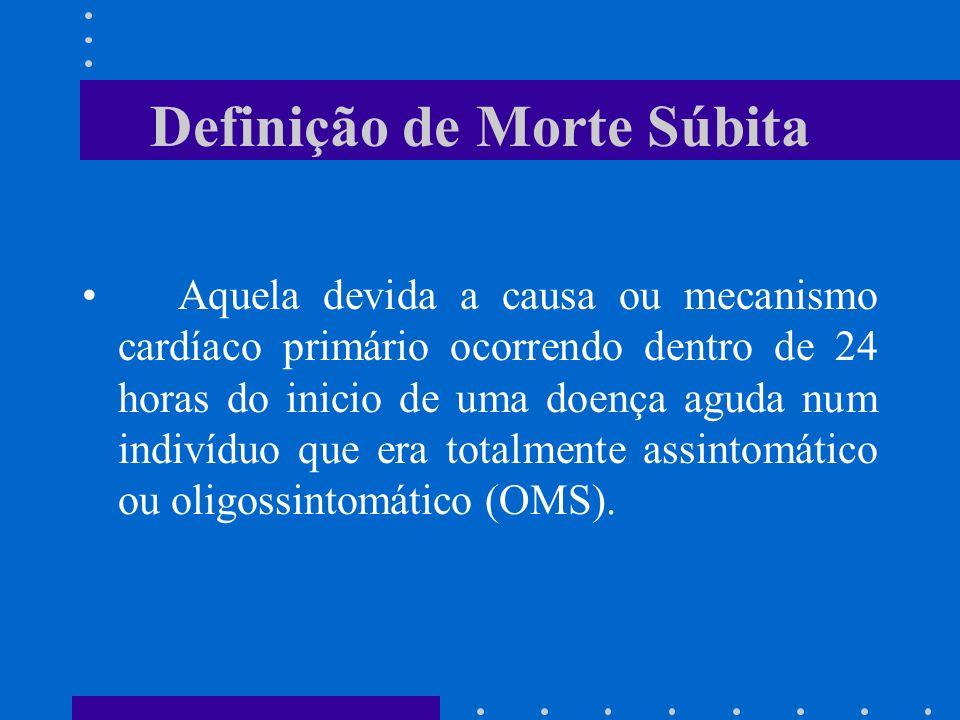 Definição de Morte Súbita Aquela devida a causa ou mecanismo cardíaco primário ocorrendo dentro de 24 horas do inicio de uma doença aguda num indivídu