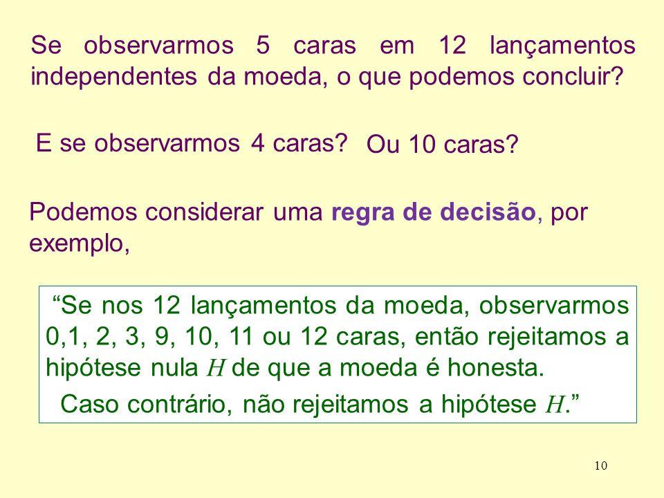 No exemplo, segundo a regra de decisão, o conjunto de valores de X que levam à rejeição da hipótese H nula H é {0, 1, 2, 3, 9, 10, 11, 12}.