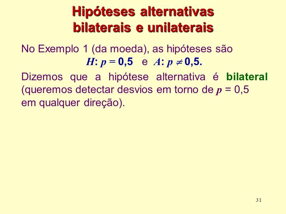 Hipóteses alternativas bilaterais e unilaterais No Exemplo 1 (da moeda), as hipóteses são H : p = 0,5 e A : p 0,5. Dizemos que a hipótese alternativa