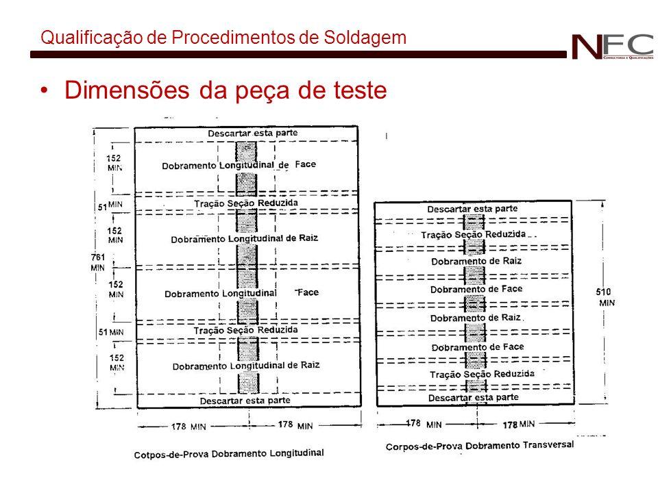 Qualificação de Procedimentos de Soldagem Dimensões da peça de teste