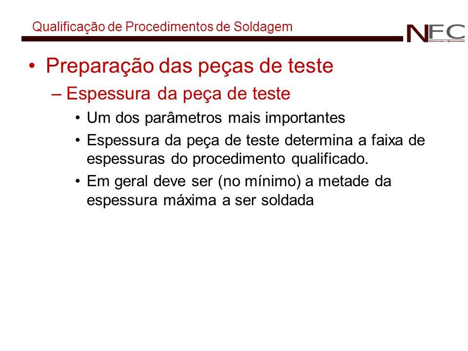 Qualificação de Procedimentos de Soldagem Preparação das peças de teste –Espessura da peça de teste Um dos parâmetros mais importantes Espessura da pe