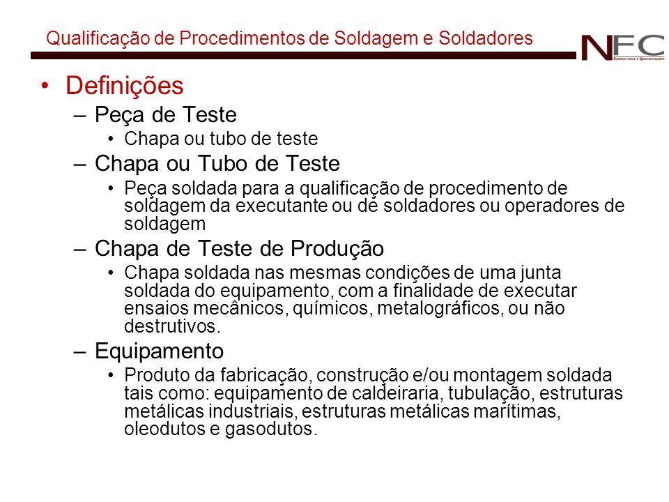 Qualificação de Procedimentos de Soldagem e Soldadores Definições –Peça de Teste Chapa ou tubo de teste –Chapa ou Tubo de Teste Peça soldada para a qu