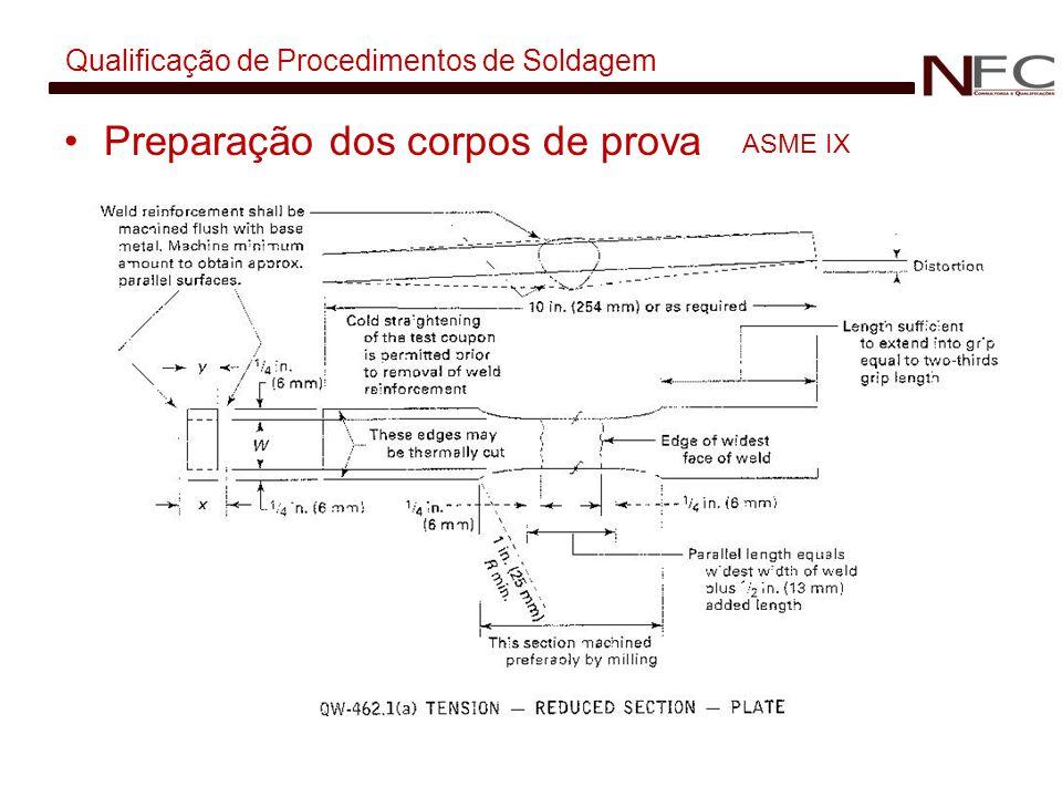 Qualificação de Procedimentos de Soldagem Preparação dos corpos de prova ASME IX