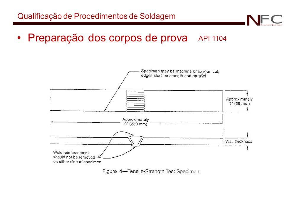 Qualificação de Procedimentos de Soldagem Preparação dos corpos de prova API 1104