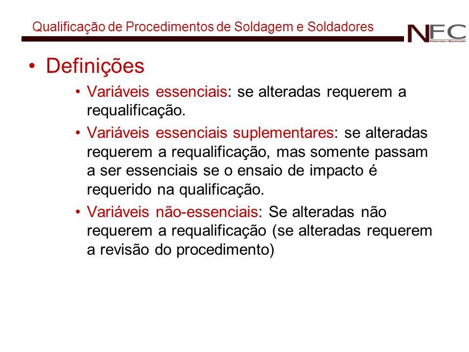 Qualificação de Procedimentos de Soldagem e Soldadores Definições Variáveis essenciais: se alteradas requerem a requalificação. Variáveis essenciais s