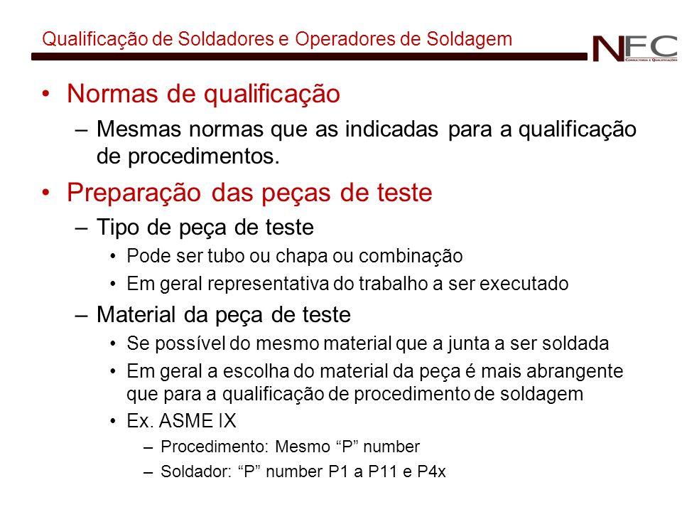 Qualificação de Soldadores e Operadores de Soldagem Normas de qualificação –Mesmas normas que as indicadas para a qualificação de procedimentos. Prepa