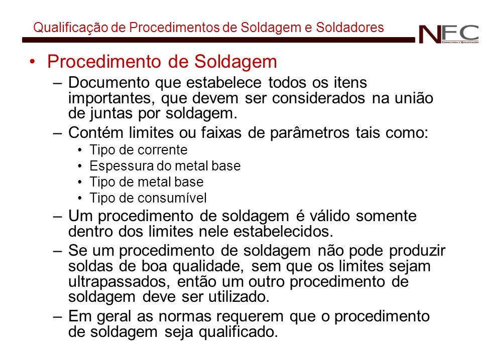 Qualificação de Procedimentos de Soldagem e Soldadores Procedimento de Soldagem –Documento que estabelece todos os itens importantes, que devem ser co