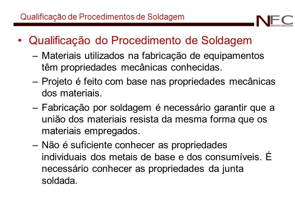 Qualificação de Procedimentos de Soldagem Qualificação do Procedimento de Soldagem –Materiais utilizados na fabricação de equipamentos têm propriedade