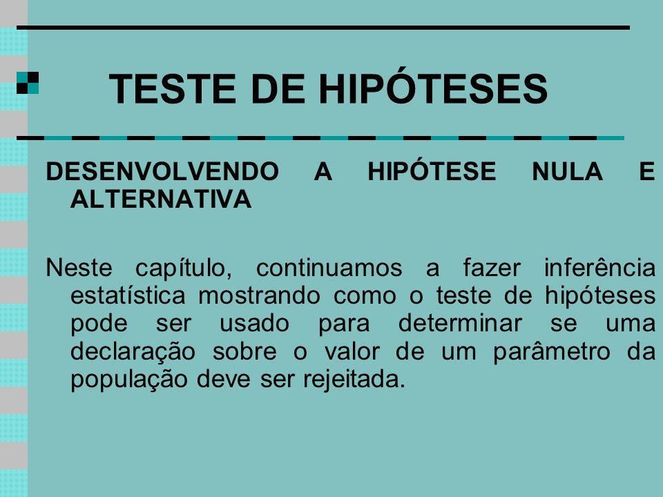 TESTE DE HIPÓTESES DESENVOLVENDO A HIPÓTESE NULA E ALTERNATIVA Neste capítulo, continuamos a fazer inferência estatística mostrando como o teste de hi