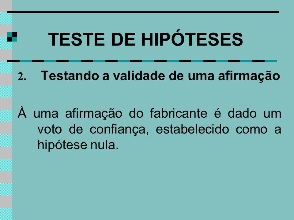 TESTE DE HIPÓTESES 2. Testando a validade de uma afirmação À uma afirmação do fabricante é dado um voto de confiança, estabelecido como a hipótese nul
