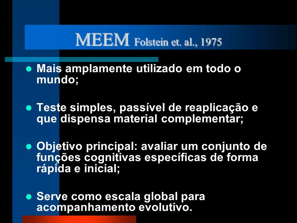 MEEM Folstein et. al., 1975 Mais amplamente utilizado em todo o mundo; Teste simples, passível de reaplicação e que dispensa material complementar; Ob