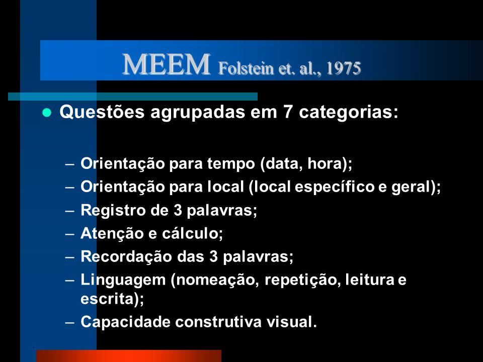 MEEM Folstein et. al., 1975 Questões agrupadas em 7 categorias: –Orientação para tempo (data, hora); –Orientação para local (local específico e geral)