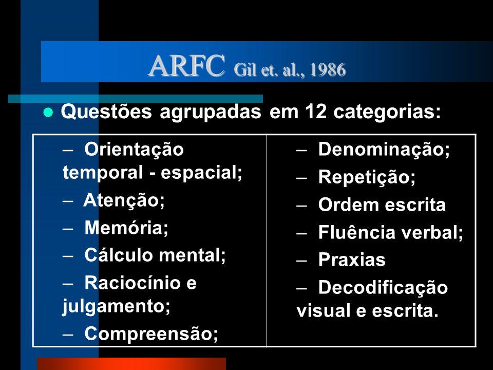 ARFC Gil et. al., 1986 Questões agrupadas em 12 categorias: – Orientação temporal - espacial; – Atenção; – Memória; – Cálculo mental; – Raciocínio e j