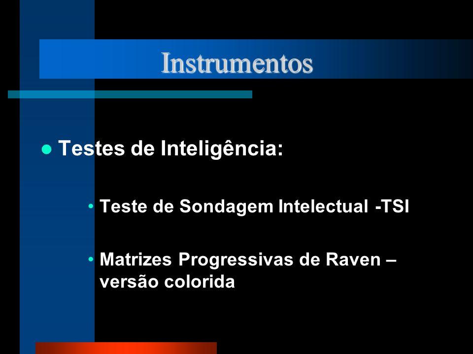 Instrumentos Testes de Inteligência: Teste de Sondagem Intelectual -TSI Matrizes Progressivas de Raven – versão colorida