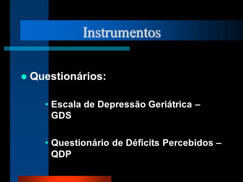 Instrumentos Questionários: Escala de Depressão Geriátrica – GDS Questionário de Déficits Percebidos – QDP