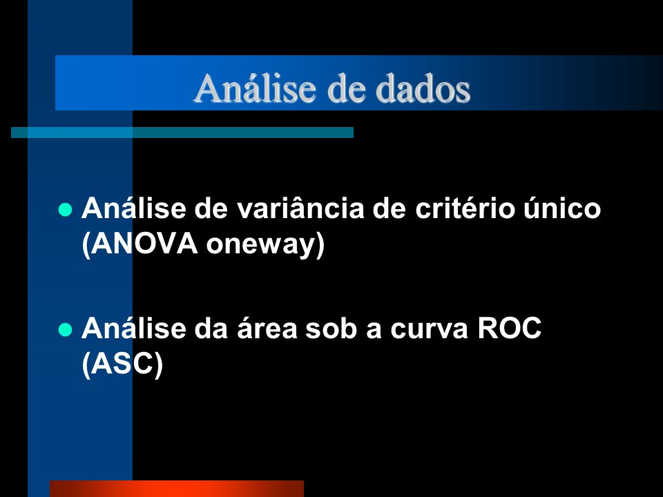 Análise de dados Análise de variância de critério único (ANOVA oneway) Análise da área sob a curva ROC (ASC)