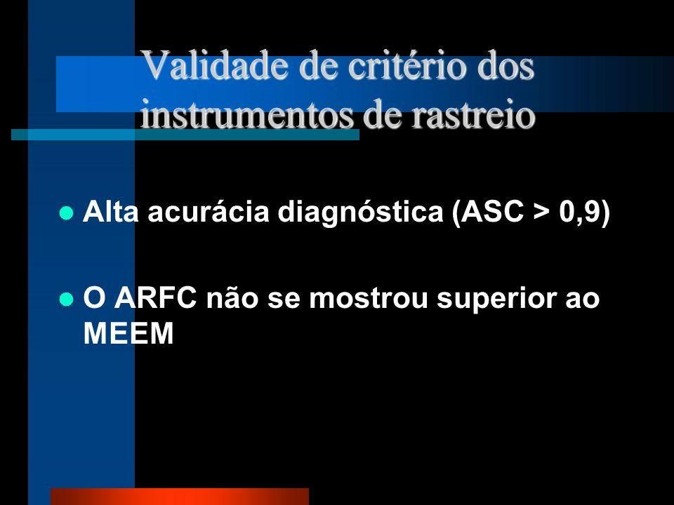 Validade de critério dos instrumentos de rastreio Alta acurácia diagnóstica (ASC > 0,9) O ARFC não se mostrou superior ao MEEM