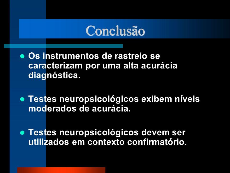 Conclusão Os instrumentos de rastreio se caracterizam por uma alta acurácia diagnóstica. Testes neuropsicológicos exibem níveis moderados de acurácia.
