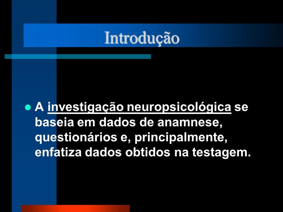 Introdução A investigação neuropsicológica se baseia em dados de anamnese, questionários e, principalmente, enfatiza dados obtidos na testagem.