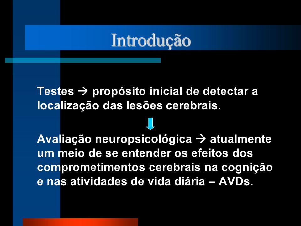 Introdução Testes propósito inicial de detectar a localização das lesões cerebrais. Avaliação neuropsicológica atualmente um meio de se entender os ef