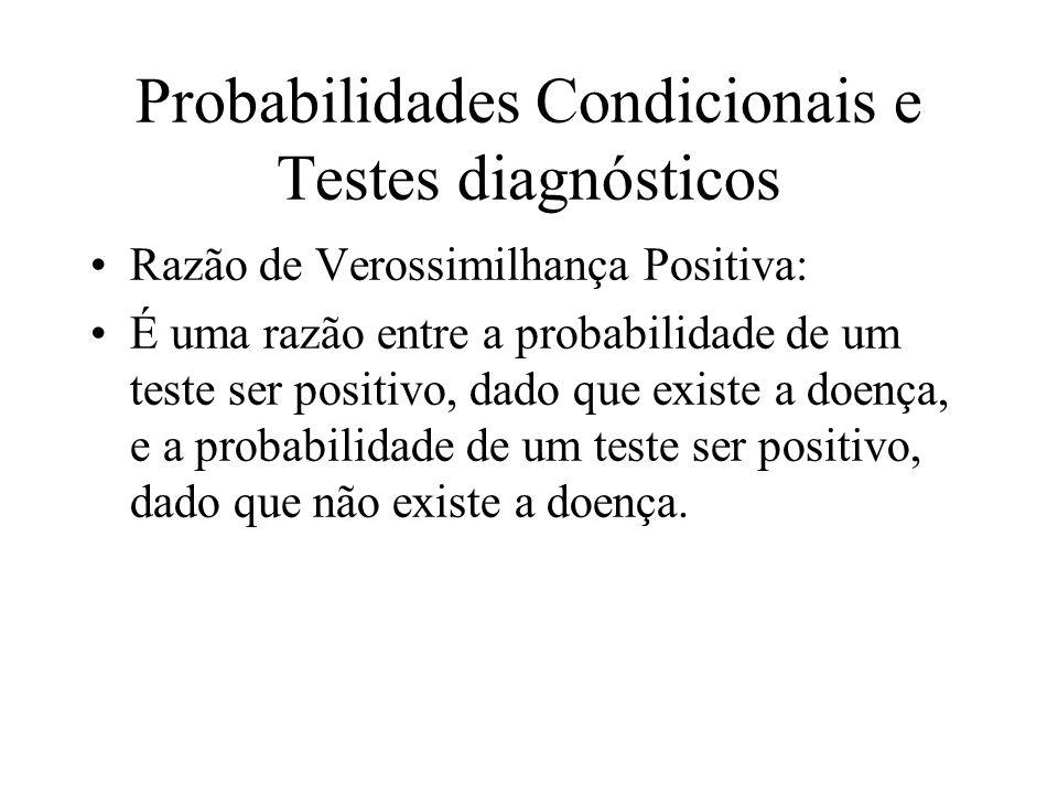 Probabilidades Condicionais e Testes diagnósticos Razão de Verossimilhança Positiva: É uma razão entre a probabilidade de um teste ser positivo, dado