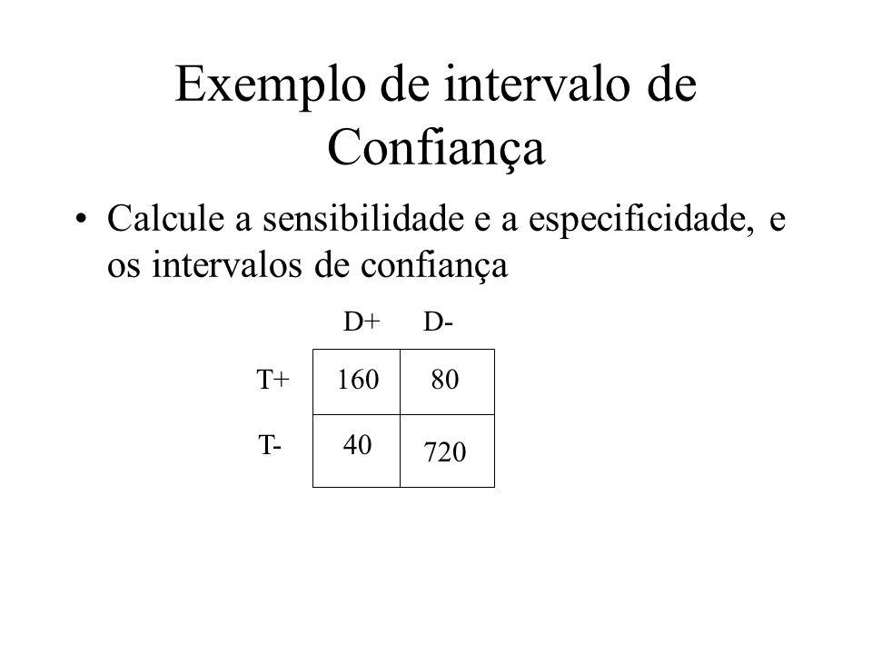 Exemplo de intervalo de Confiança Calcule a sensibilidade e a especificidade, e os intervalos de confiança 16080 40 720 D+D- T+ T-