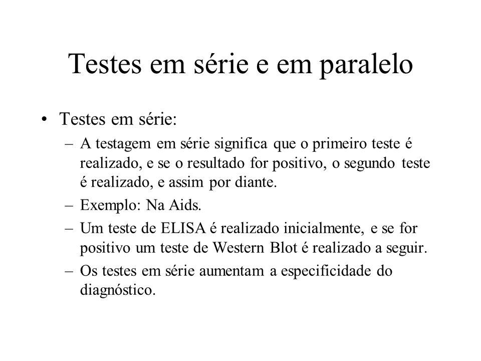 Testes em série e em paralelo Testes em série: –A testagem em série significa que o primeiro teste é realizado, e se o resultado for positivo, o segun