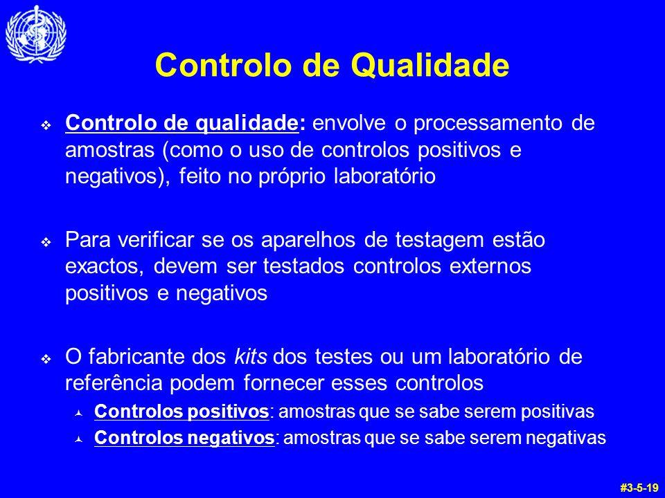 Controlo de Qualidade Controlo de qualidade: envolve o processamento de amostras (como o uso de controlos positivos e negativos), feito no próprio lab