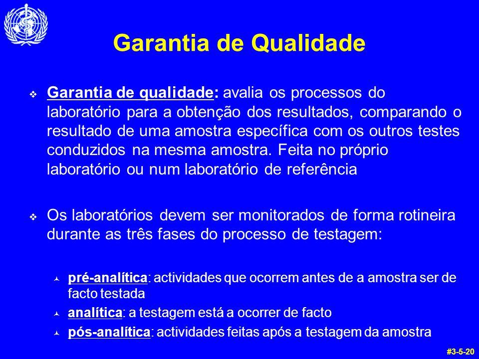 Garantia de Qualidade Garantia de qualidade: avalia os processos do laboratório para a obtenção dos resultados, comparando o resultado de uma amostra