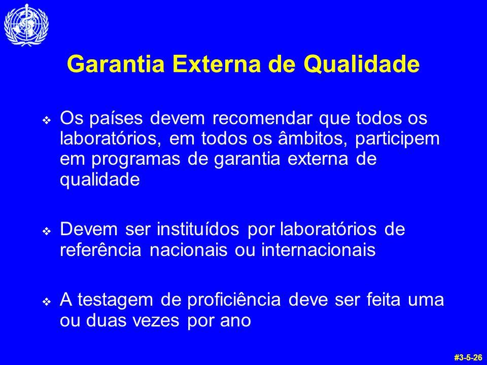 Garantia Externa de Qualidade Os países devem recomendar que todos os laboratórios, em todos os âmbitos, participem em programas de garantia externa d