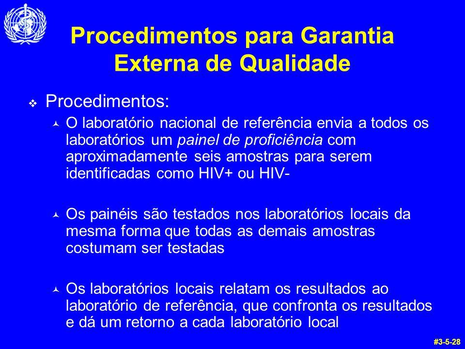 Procedimentos para Garantia Externa de Qualidade Procedimentos: © O laboratório nacional de referência envia a todos os laboratórios um painel de prof