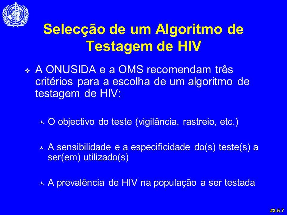 Selecção de um Algoritmo de Testagem de HIV A ONUSIDA e a OMS recomendam três critérios para a escolha de um algoritmo de testagem de HIV: © O objecti