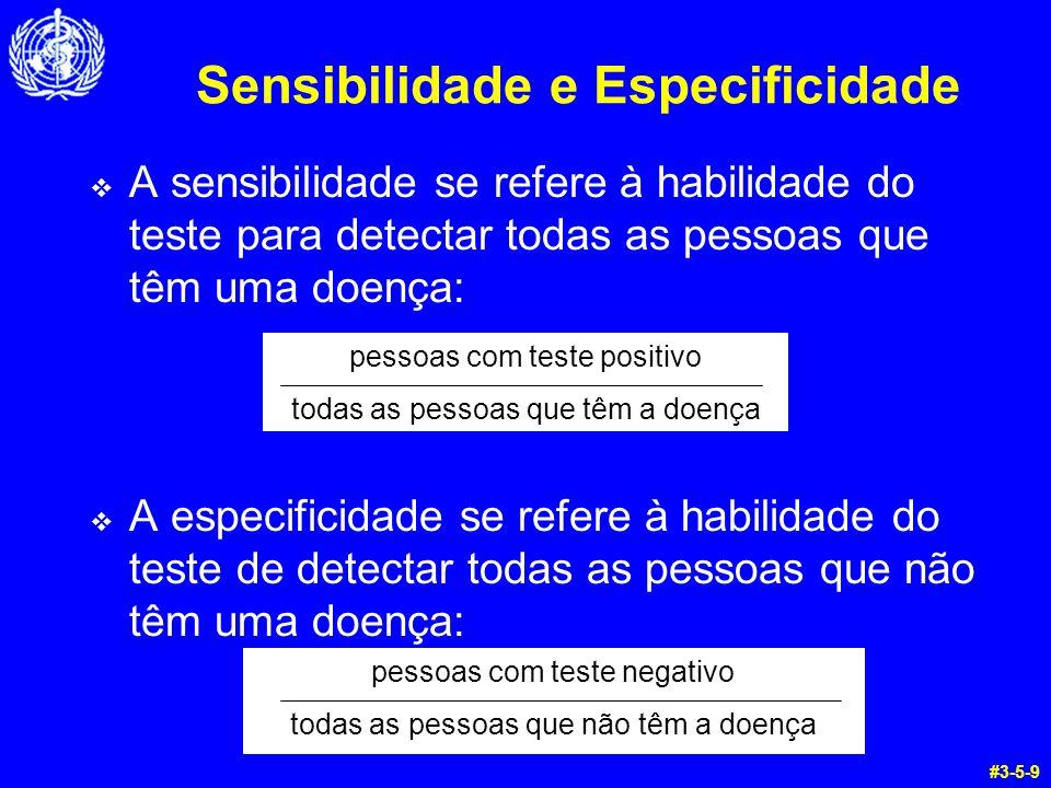Sensibilidade e Especificidade A sensibilidade se refere à habilidade do teste para detectar todas as pessoas que têm uma doença: A especificidade se