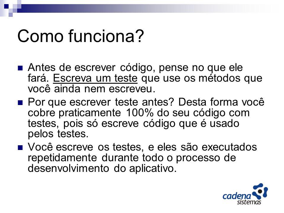 O Ciclo do TDD Comece com um teste que não compila porque o método que você está testando ainda não existe.