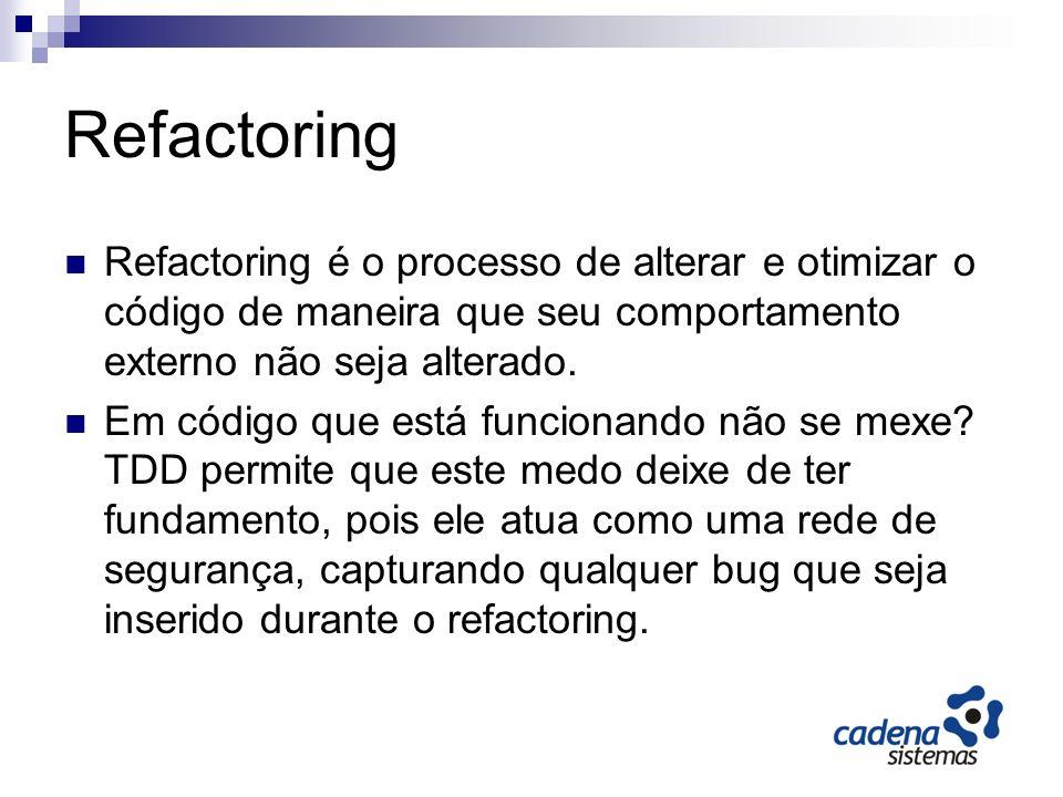 Benefícios Melhor código Menos bugs (encontrados mais rapidamente) Código mais simples Melhor design Código evolui com o tempo ao contrário de degradar como no processo normal.