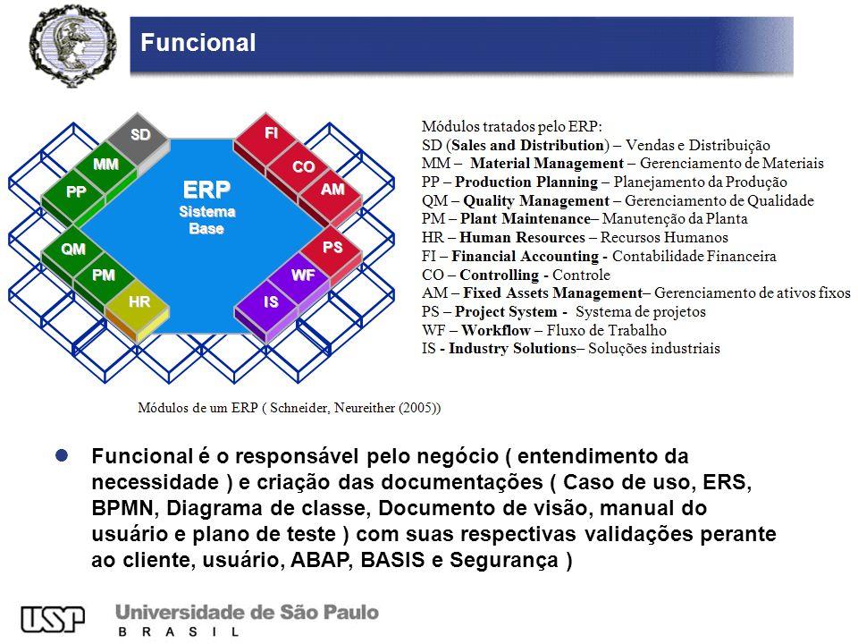 Funcional Funcional é o responsável pelo negócio ( entendimento da necessidade ) e criação das documentações ( Caso de uso, ERS, BPMN, Diagrama de cla