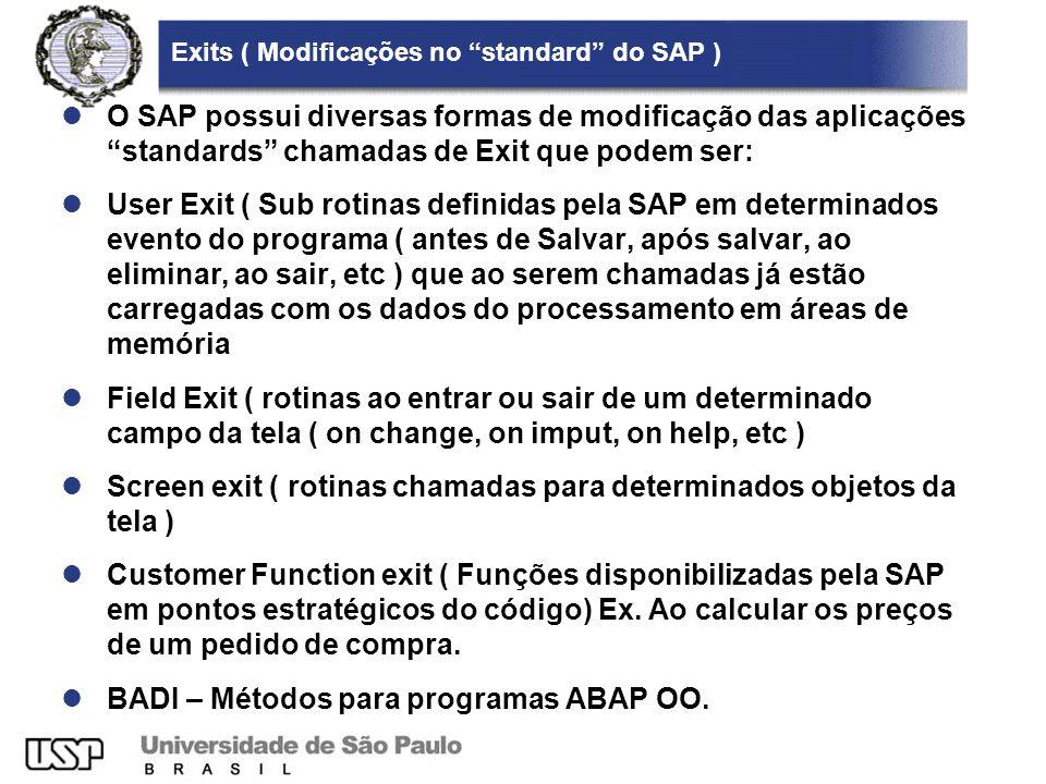 Exits ( Modificações no standard do SAP ) O SAP possui diversas formas de modificação das aplicações standards chamadas de Exit que podem ser: User Ex