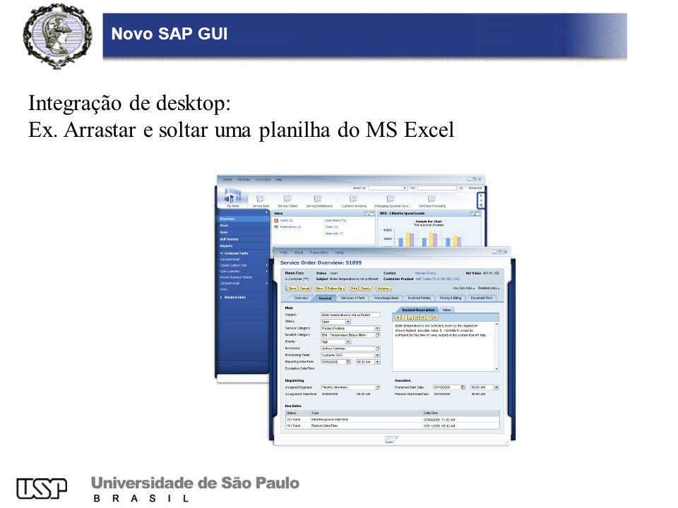 Novo SAP GUI Integração de desktop: Ex. Arrastar e soltar uma planilha do MS Excel