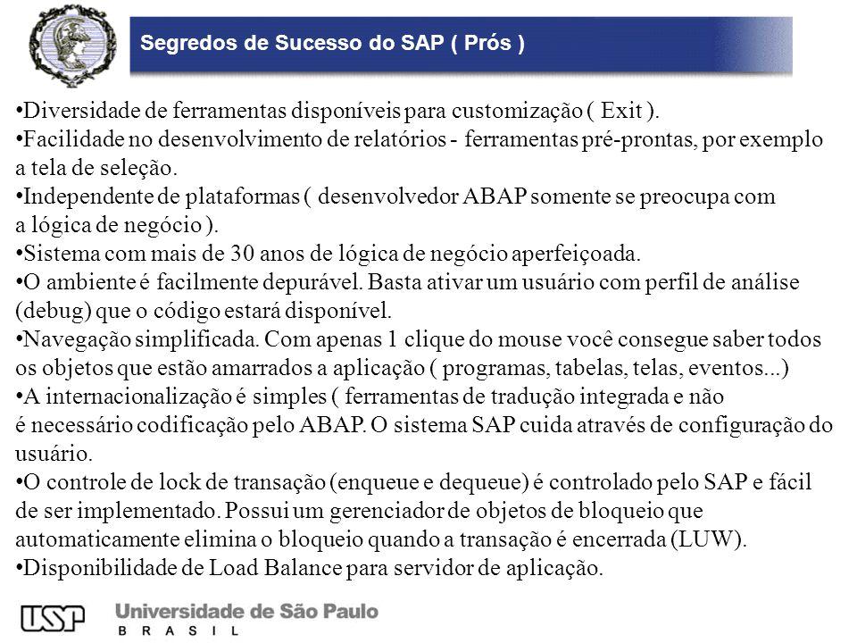 Segredos de Sucesso do SAP ( Prós ) Diversidade de ferramentas disponíveis para customização ( Exit ). Facilidade no desenvolvimento de relatórios - f