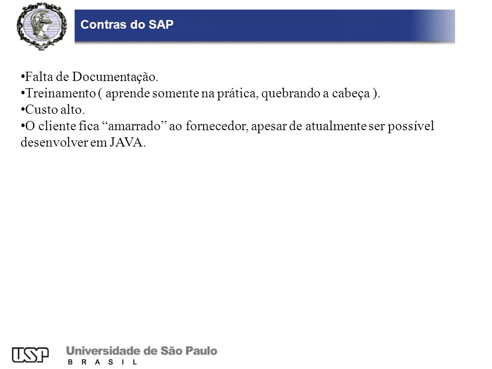 Contras do SAP Falta de Documentação.