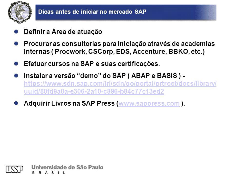 Dicas antes de iniciar no mercado SAP Definir a Área de atuação Procurar as consultorias para iniciação através de academias internas ( Procwork, CSCo